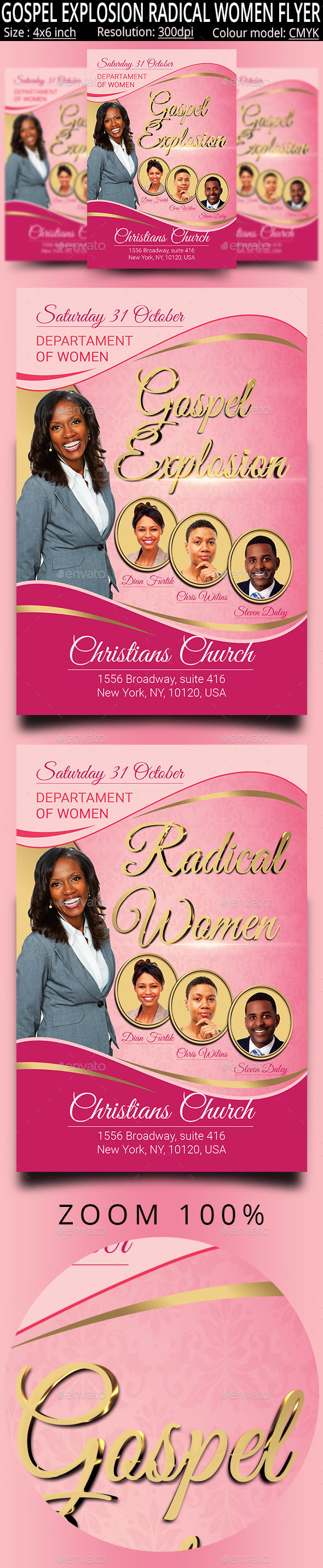GraphicRiver Gospel Explosion Radical Women Church Flyer 20743037