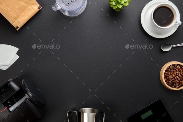 Coffee Maker And Equipment On Gray Background - Stock Photo - Images