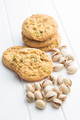 Sweet pistachio cookies and pistachio nuts.