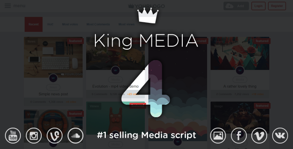 King MEDIA - Video, News, Image Upload and Share - CodeCanyon Item for Sale