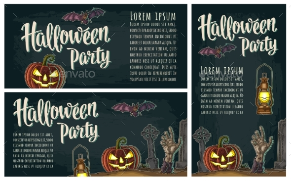 Horizontal Poster with Halloween Party Calligraphy