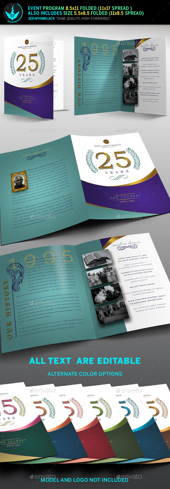 GraphicRiver Regal Gold Lavender plus Teal Church Anniversary Program Template 20743823