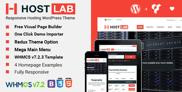 Image of HostLab - Responsive Hosting Service With WHMCS WordPress Theme