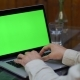 Man Works on the Laptop with Green Screen - VideoHive Item for Sale