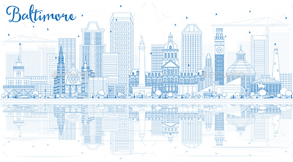 Outline Baltimore Skyline with Blue Buildings and Reflections - Buildings Objects