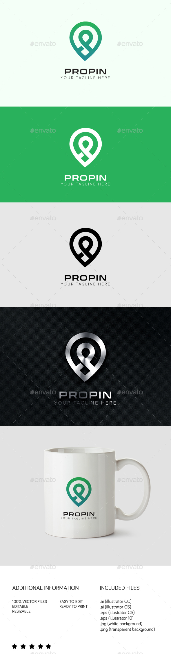 Propin Logo - Letters Logo Templates