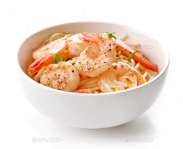 Bowl of spaghetti and fried prawns - Stock Photo - Images