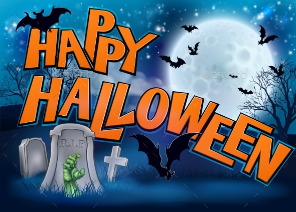 Happy Halloween Cartoon Sign - Halloween Seasons/Holidays