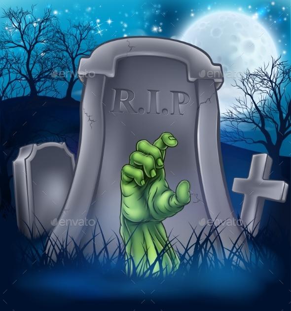 Zombie or Halloween Monster Cartoon Scene - Halloween Seasons/Holidays
