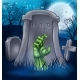 Zombie or Halloween Monster Cartoon Scene