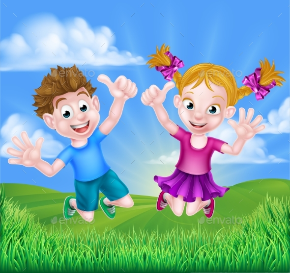 Cartoon Kids Jumping for Joy - People Characters