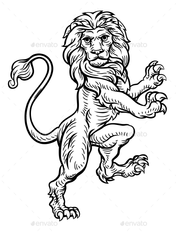 GraphicRiver Lion Standing Rampant on Hind Legs 20744426