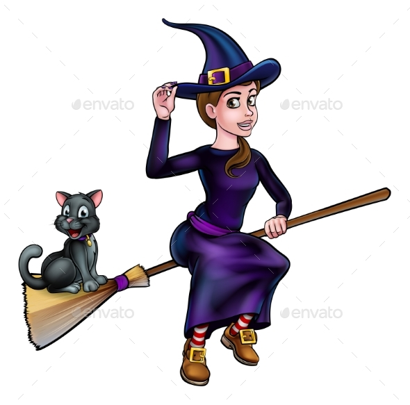 Witch and Cat Flying on Broomstick - Halloween Seasons/Holidays