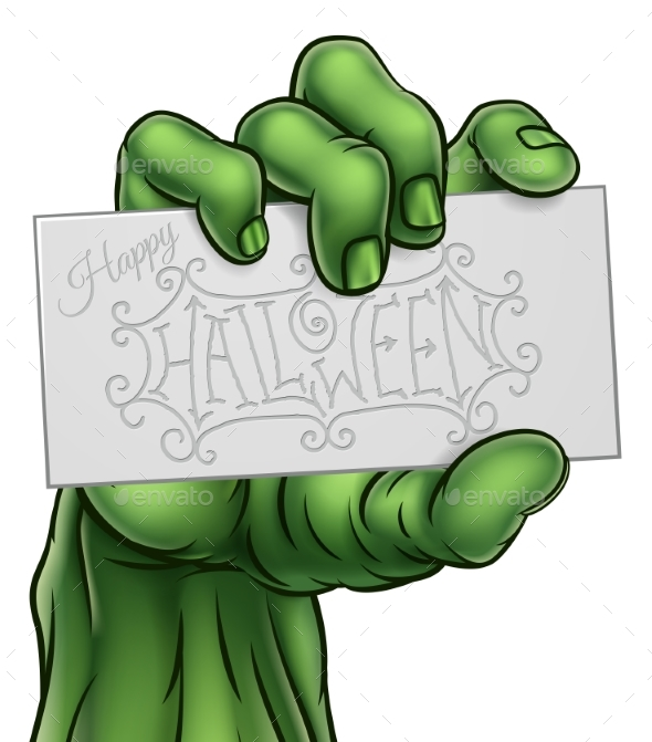Zombie Monster Hand Holding Happy Halloween Sign - Halloween Seasons/Holidays