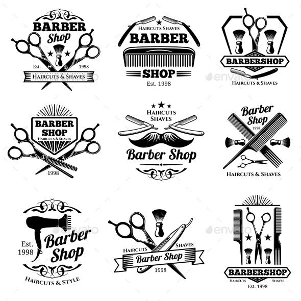 Vintage Barbershop Vector Emblems and Labels - Miscellaneous Vectors