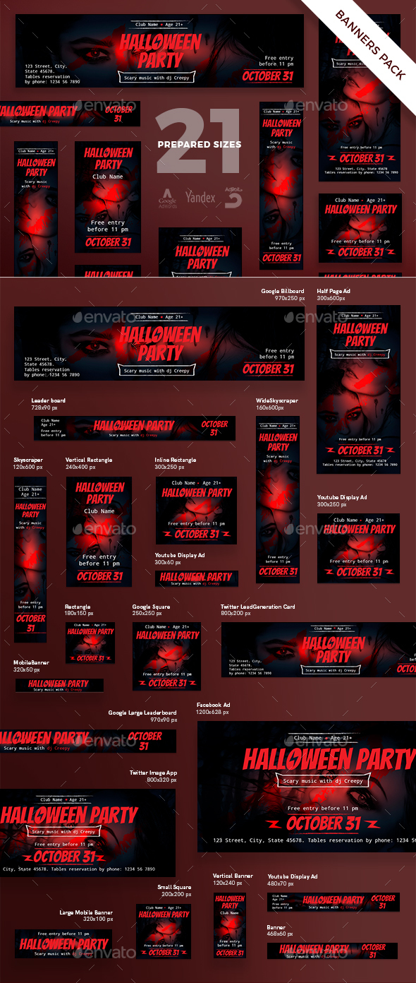 Halloween Party Banner Pack - Banners & Ads Web Elements