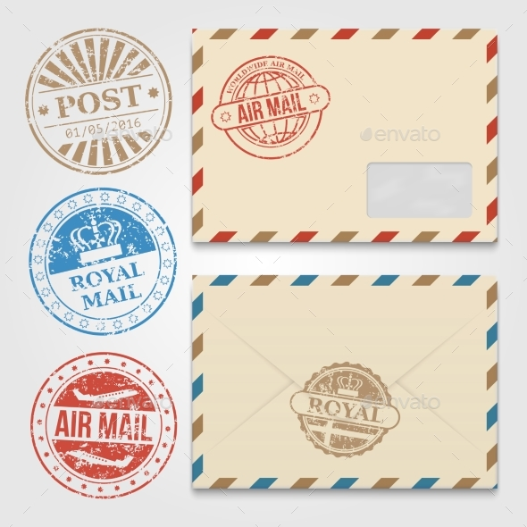Vintage Envelopes Template with Grunge Postal - Miscellaneous Vectors