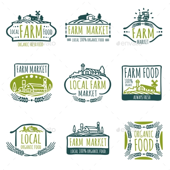 GraphicRiver Farm and Organic Food Vector Labels 20744560