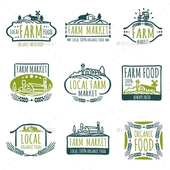 Farm and Organic Food Vector Labels - Web Elements Vectors