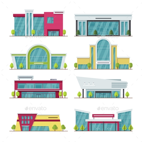 Contemporary Shopping Mall and Store Buildings - Buildings Objects