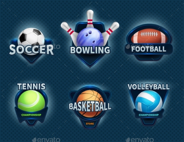 GraphicRiver Sports Balls Vector Labels and Sport Team Emblems 20744599