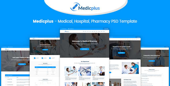 Medicplus medical hospital pharmacy psd template by for Hospital menu template