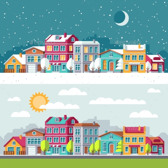 Winter and Summer Landscape with City Houses Flat - Buildings Objects