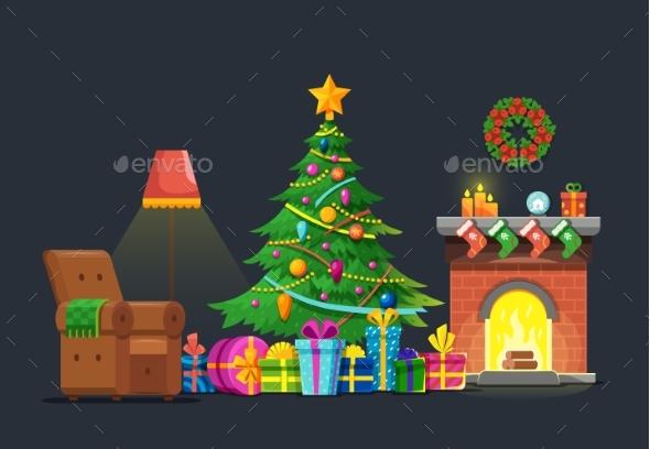 Cartoon Living Room with Xmas Tree and Fireplace - Christmas Seasons/Holidays