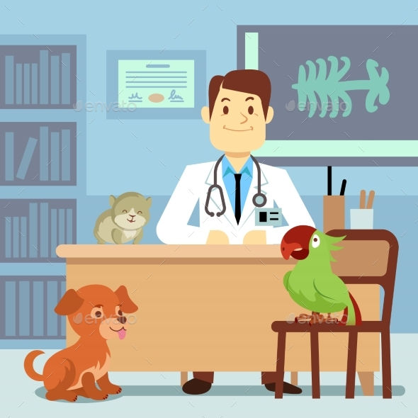 Veterinary Office with Doctor and Pets - Miscellaneous Characters