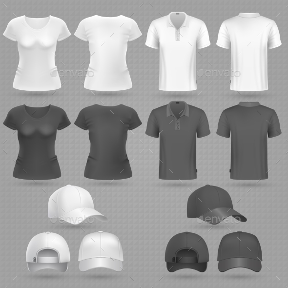 Male and Female Black White T-Shirt and Baseball Cap - Man-made Objects Objects