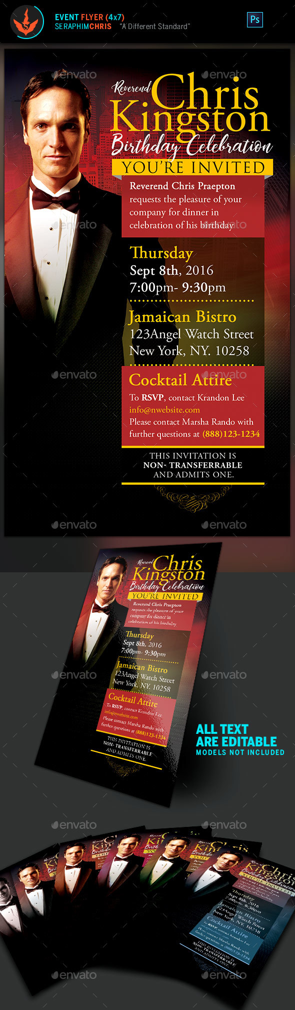 Pastor's Birthday Celebration Invitation Template - Church Flyers