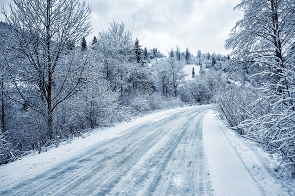 Road is among the snow-covered trees in the mountains - Stock Photo - Images