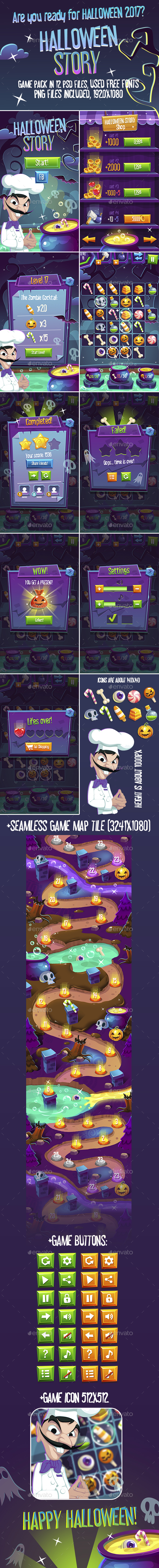 Halloween Story Full Game Pack with GUI and Seamless Map - Game Kits Game Assets
