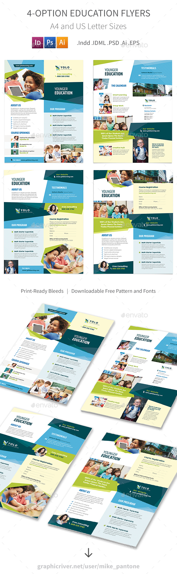 GraphicRiver Education Flyers 10 4 Options 20745609