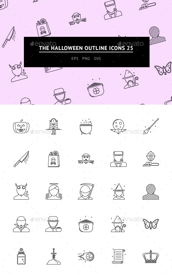 GraphicRiver The Halloween Outline Icons 25 20746314