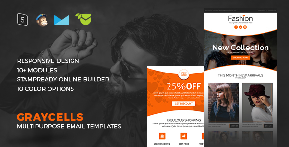 Graycells Fashion - Responsive Email Template + Stampready Builder - Newsletters Email Templates