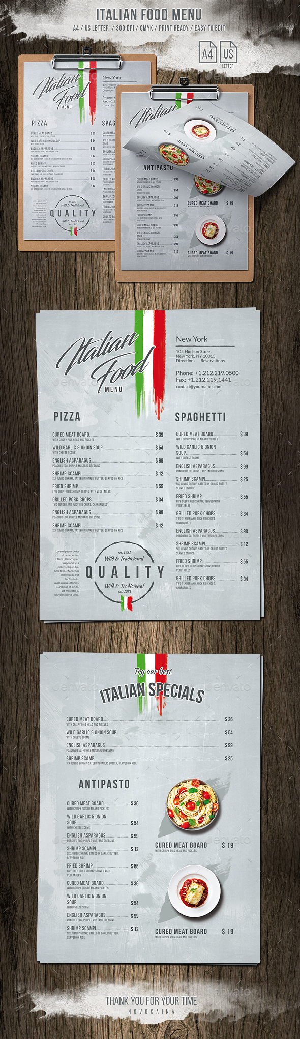 Italian Light A4 - US Letter Single Page Menu - Food Menus Print Templates
