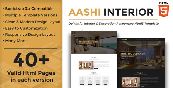 Aashi Interior - Responsive HTML Template for Interior Design and Decoration - Business Corporate
