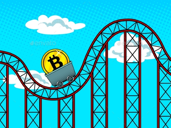 GraphicRiver Bitcoin Fluctuations Pop Art Vector Illustration 20749815