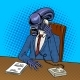 Alien Boss Talking By Phone Pop Art Vector