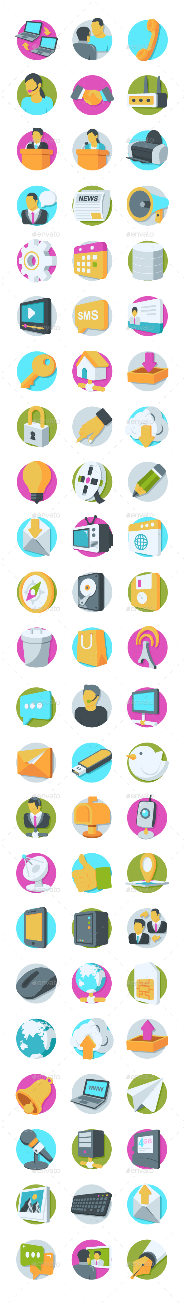 GraphicRiver 69 Network and Communication Icons 20749898