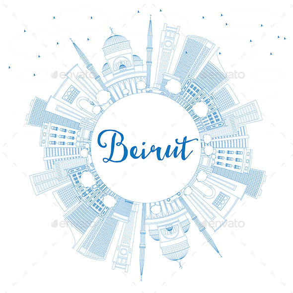 Outline Beirut Skyline with Blue Buildings and Copy Space - Buildings Objects