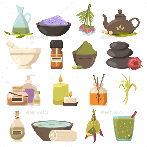 Natural Cosmetology Icons Set - Health/Medicine Conceptual