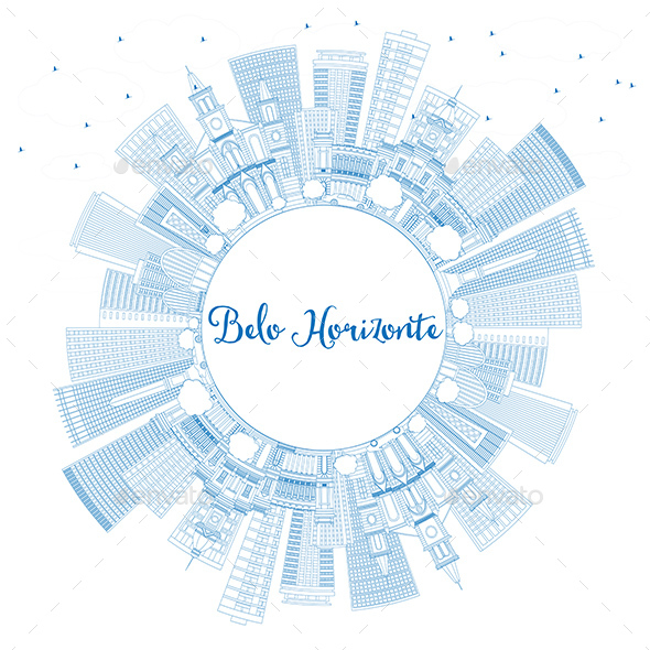 Outline Belo Horizonte Skyline with Blue Buildings and Copy Space - Buildings Objects