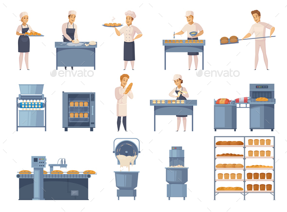GraphicRiver Bakery Cartoon Icons Set 20749952