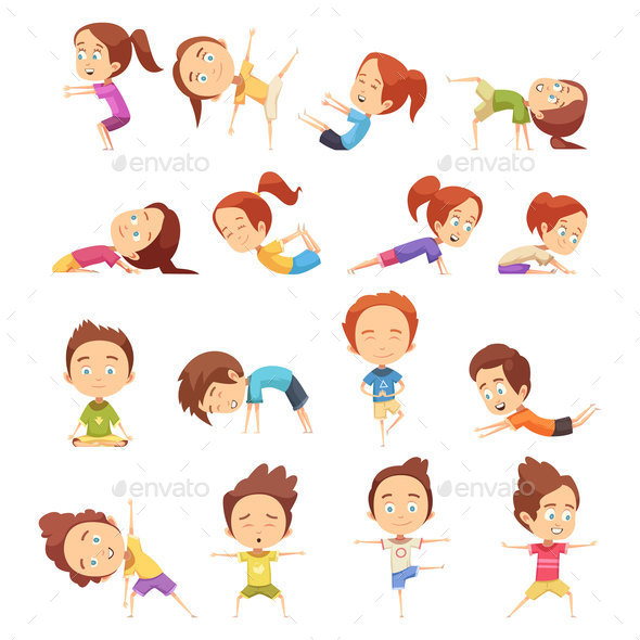 GraphicRiver Kids Yoga Decorative Icons Set 20749950