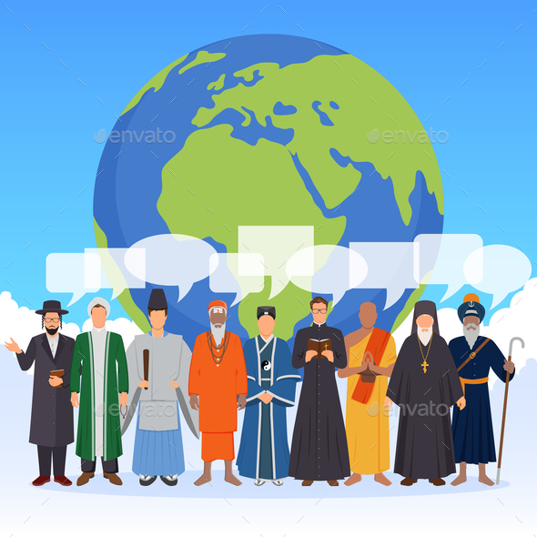 People From World Religions Flat Composition - People Characters