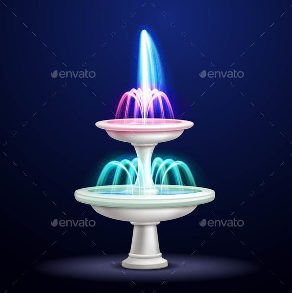 GraphicRiver Night Fountain Neon Lights Realistic 20749957