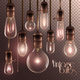 Vintage Glowing Light Bulbs Transparent Set