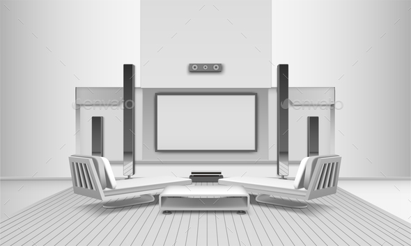 GraphicRiver Home Cinema Interior In White Tones 20749988